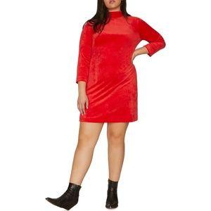 NWT Sanctuary Red Velour Shift Dress 1X